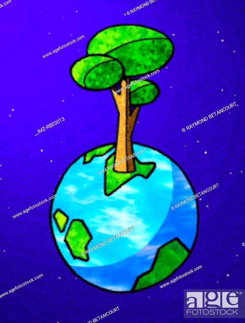 Photo de stock: tree growing out of the earth.