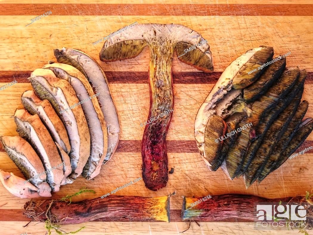 Stock Photo: Cut pieces of arranged on a wooden cutting board.