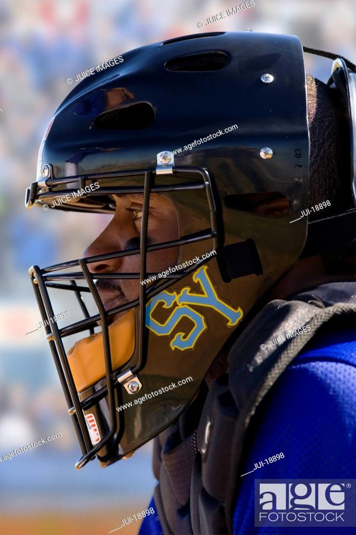 Stock Photo: Close up of lacrosse player wearing helmet.