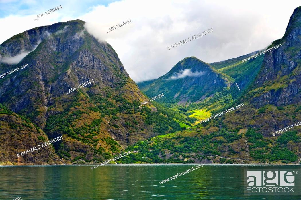 Stock Photo: Naeroyfjord Sognefjord branch, Sogn and Fjordane, Norway.