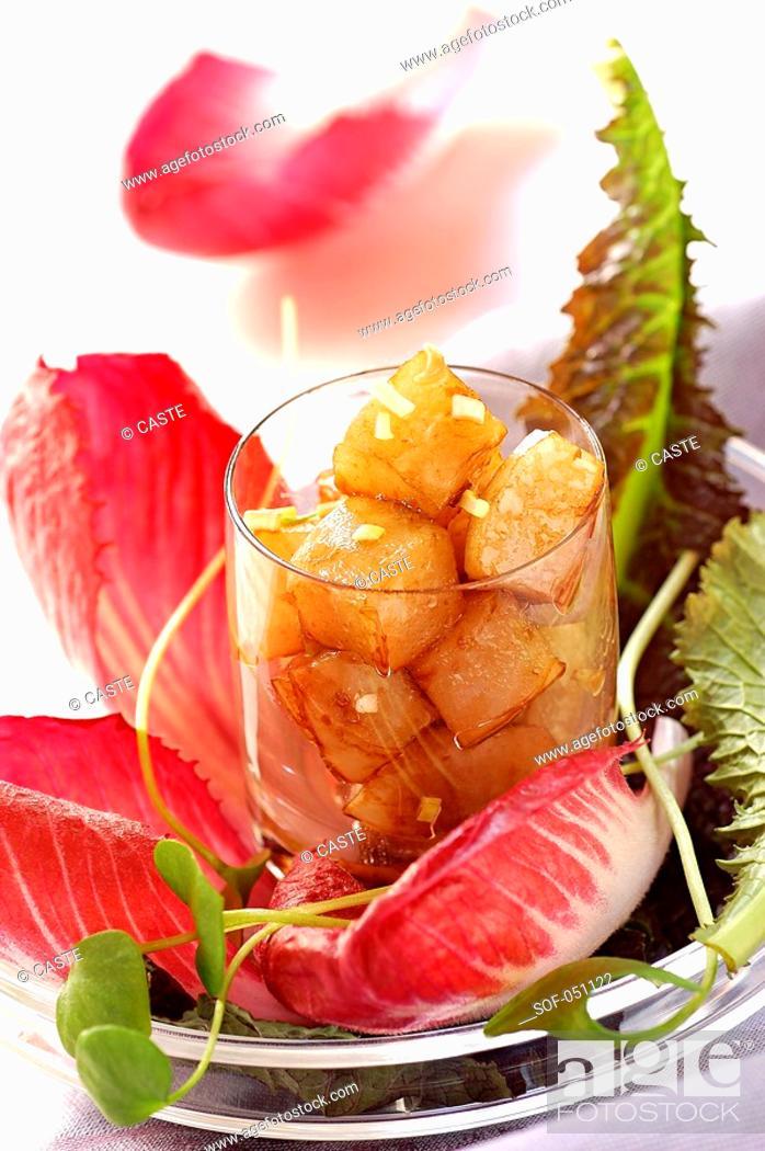 Stock Photo: red lettuce and jerusalem artichoke salad with balsamic vinegar.