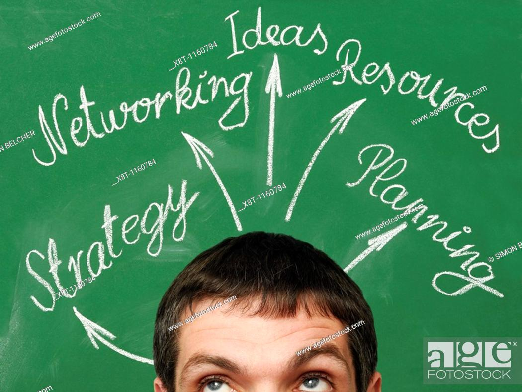 Stock Photo: Business Planning  Businessman in Front of a Chalkboard with a Business Planning Diagram.