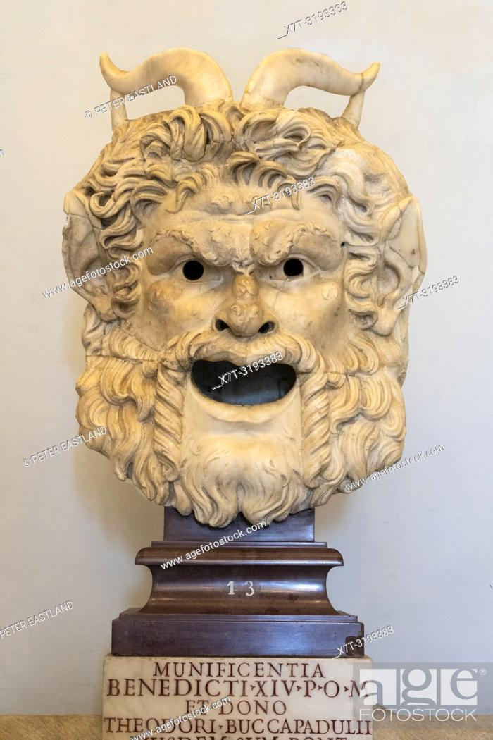 Stock Photo: A Satyr mask from the Roman period 2nd half 1st cen. AD. In the Palazzo dei Conservatori, part of the Capitoline Museums, Rome, Italy.
