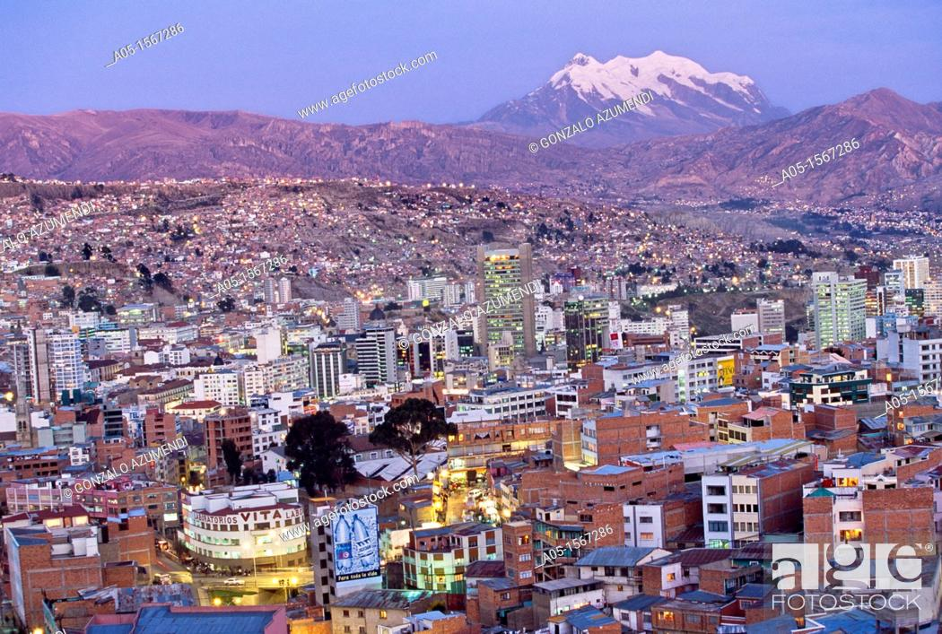 Stock Photo: La Paz and Nevado Illimani (6439 m), Bolivia.