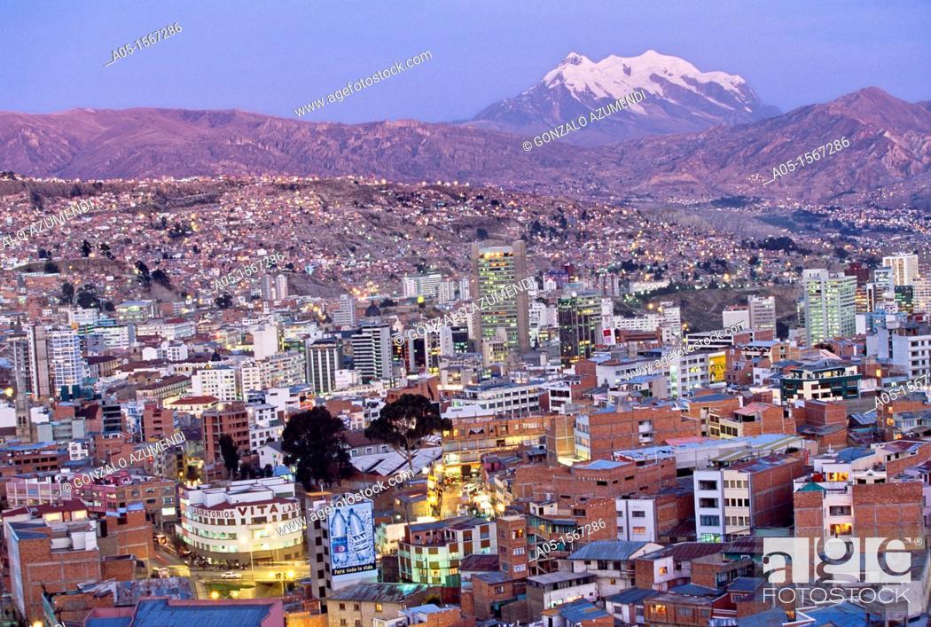 Stock Photo: La Paz and Nevado Illimani (6439 m), Bolivia.