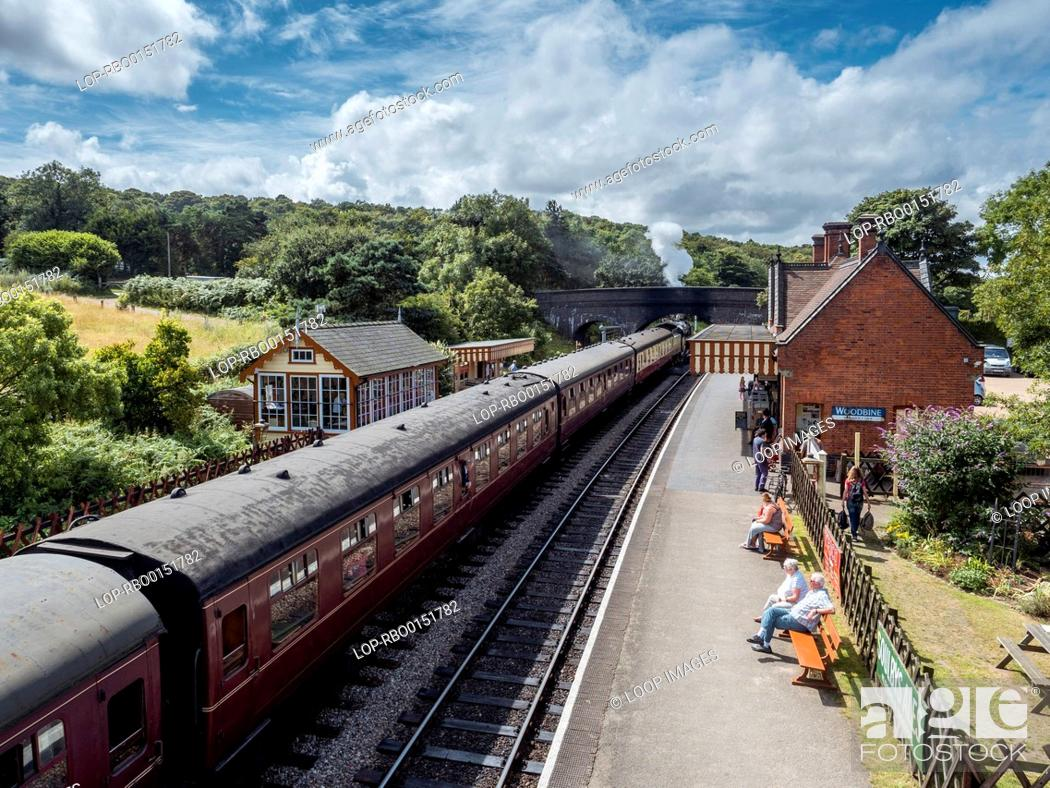 Stock Photo: Steam train at Weyborne Station on a sunny day.