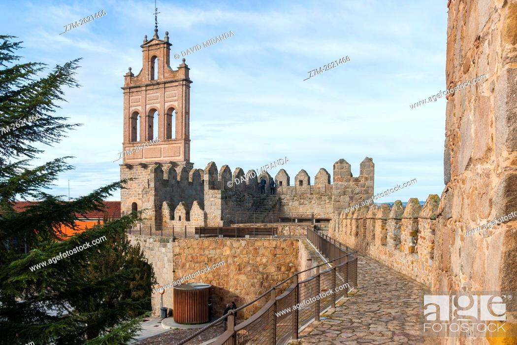 Stock Photo: Puerta del Carmen Gate and  Medieval City Walls, Avila, Castile and Leon, Spain. UNESCO World Heritage Site.