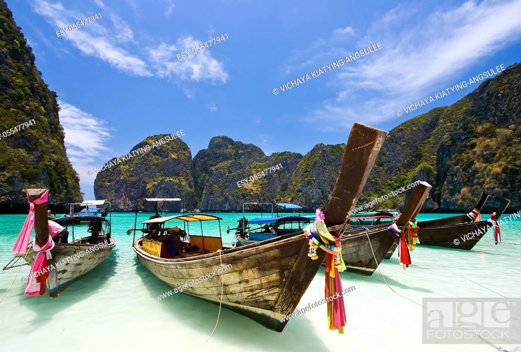 Stock Photo: Long Tail Boat at Maya bay, PhiPhi Island , Phuket Thailand.