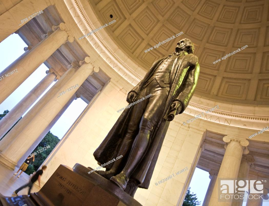 Stock Photo: Jefferson in Memorial with tree on tidal basin.