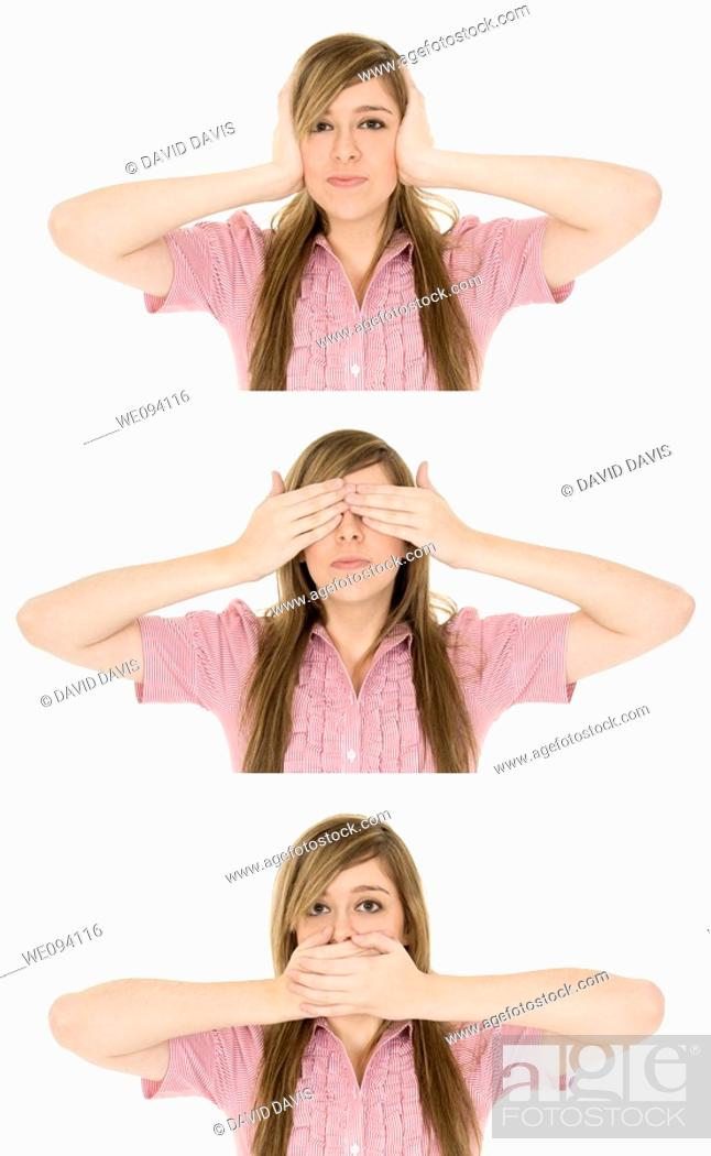 Stock Photo: Caucasian teenager displaying some attitude with the Hear No Evil, See No Evil, Speak No Evil hand gestures.