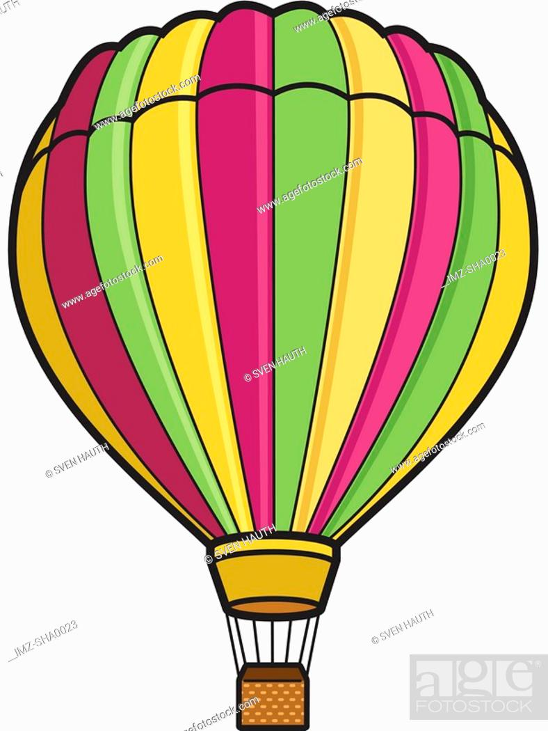 Stock Photo: A hot air balloon represented on a white background.
