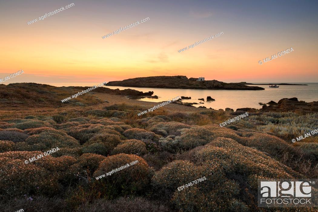 Stock Photo: Small island off the coast near Molos village on Skyros island, Greece. .