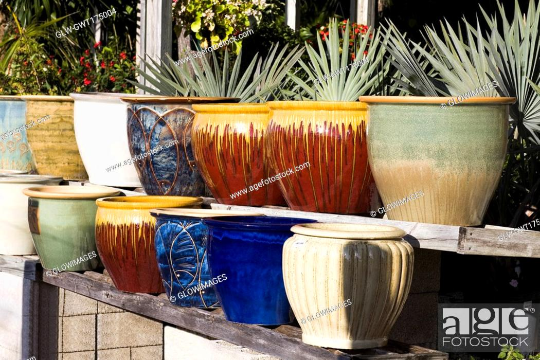 Stock Photo: Close-up of vases in a row, Florida Keys, Florida, USA.
