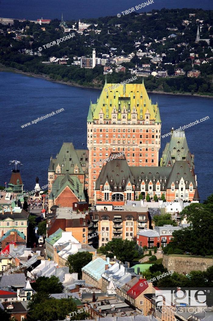 Stock Photo: Canada, Québec, Quebec City, general aerial view, Chateau Frontenac.