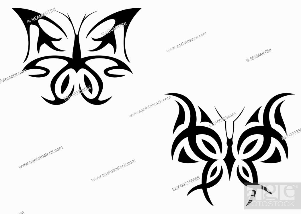 Stock Photo: Isolated tattoo of beautiful black butterfly on white.