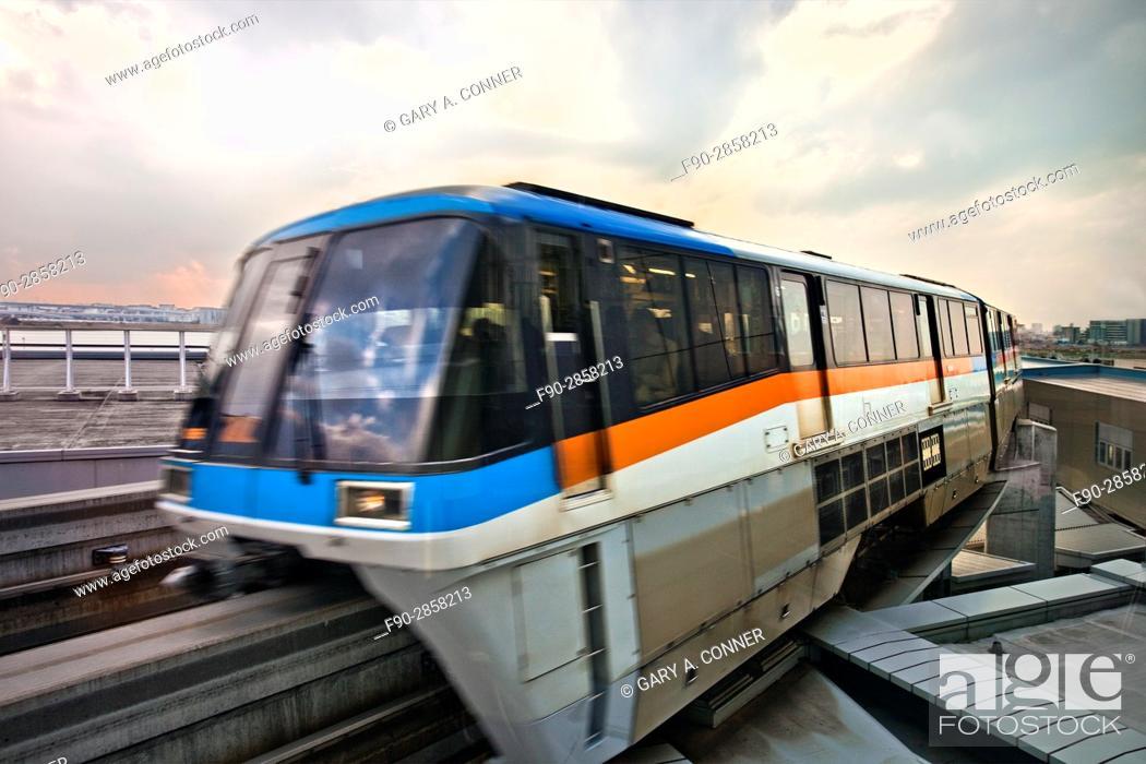 Stock Photo: Tokyo Monorail train arrives at Haneda Airport in Tokyo, Japan.