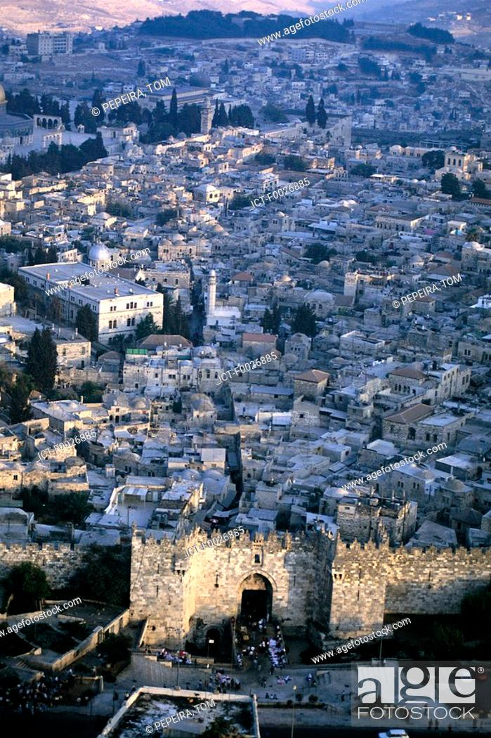 Stock Photo: Israel, Jerusalem, aerial view of the old town.