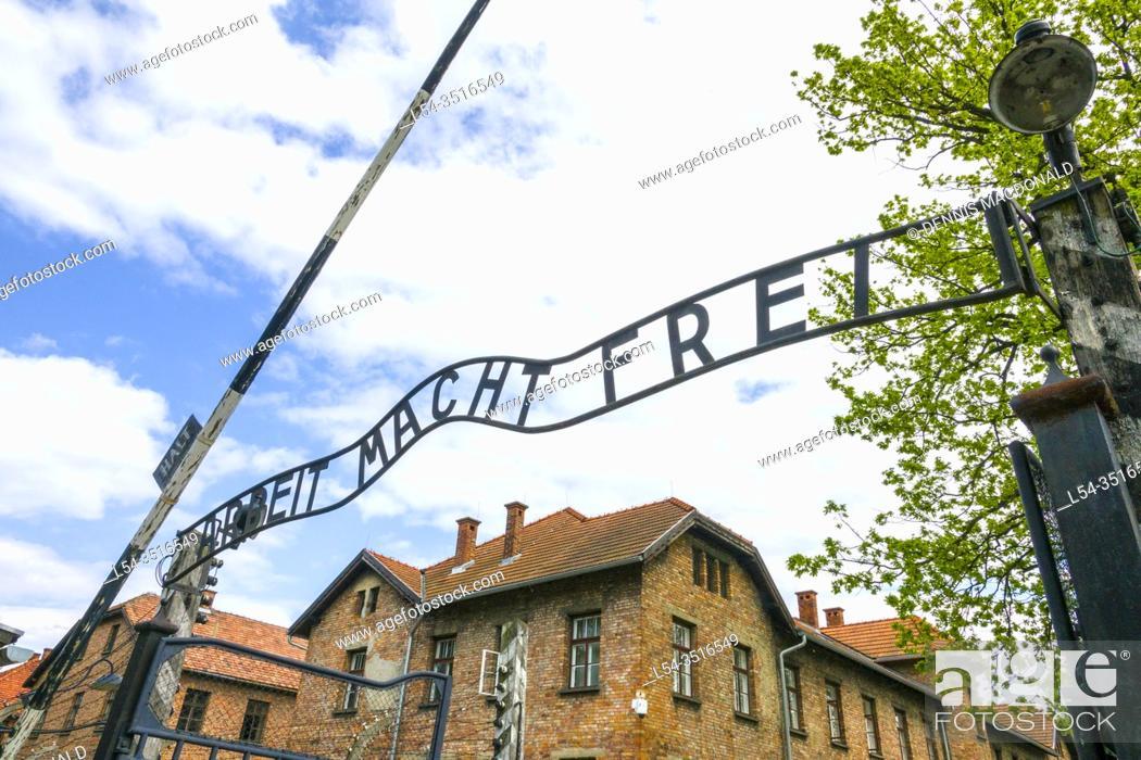Stock Photo: Arbeit macht frei Auschwitz Birkenau Concentration Camp OŠ›wiÄ. cim Museum Southern Poland Europe EU UNESCO.