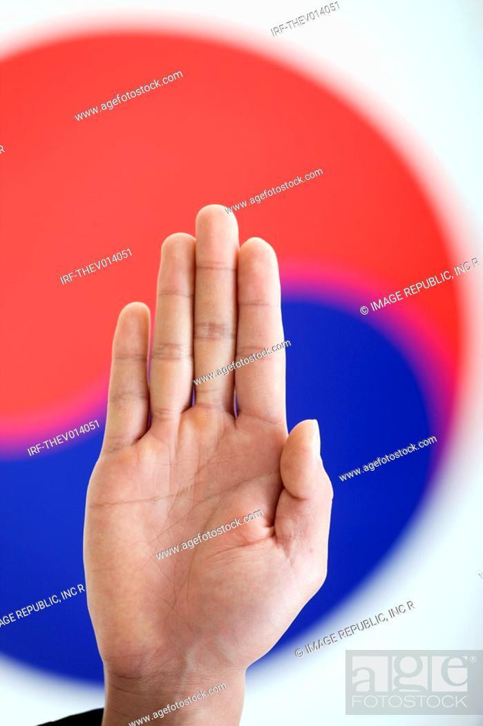 Stock Photo: oath in front of Korean flag, Taegeukgi.