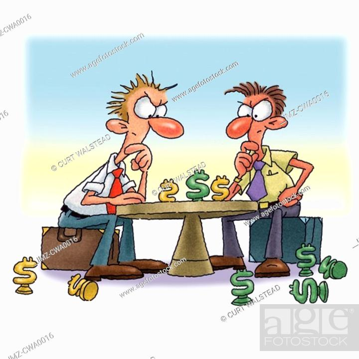 Stock Photo: Two men having a game of business chess.