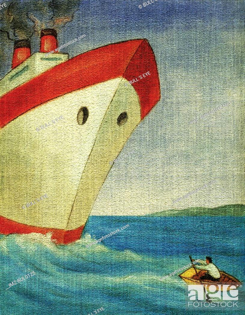 Stock Photo: Man rowing a small boat away from a giant ship.