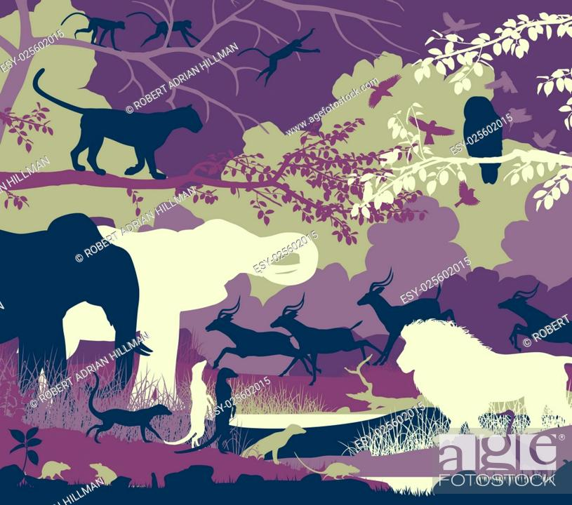 Stock Vector: Colorful editable vector illustration of wildlife diversity.