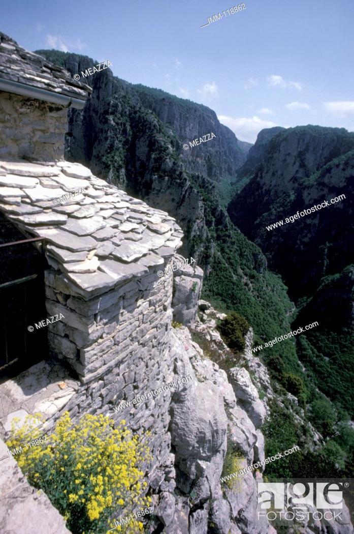 Stock Photo: Epiros, Zagorohoria, Monodendri, Agia Paraskevi mountain, view Vikos Groge.