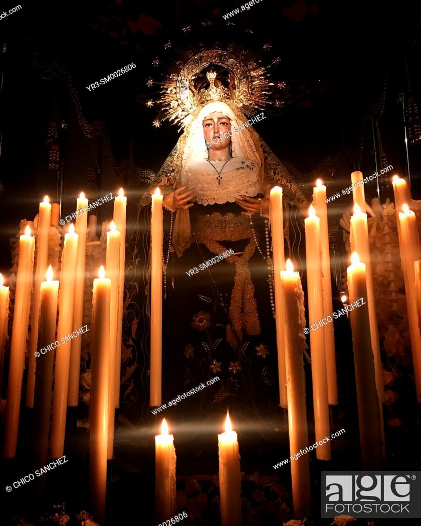 Stock Photo: An image of the Virgin Mary is displayed during Semana Santa in Prado del Rey, Sierra de Grazalema, Andalucia, Spain.