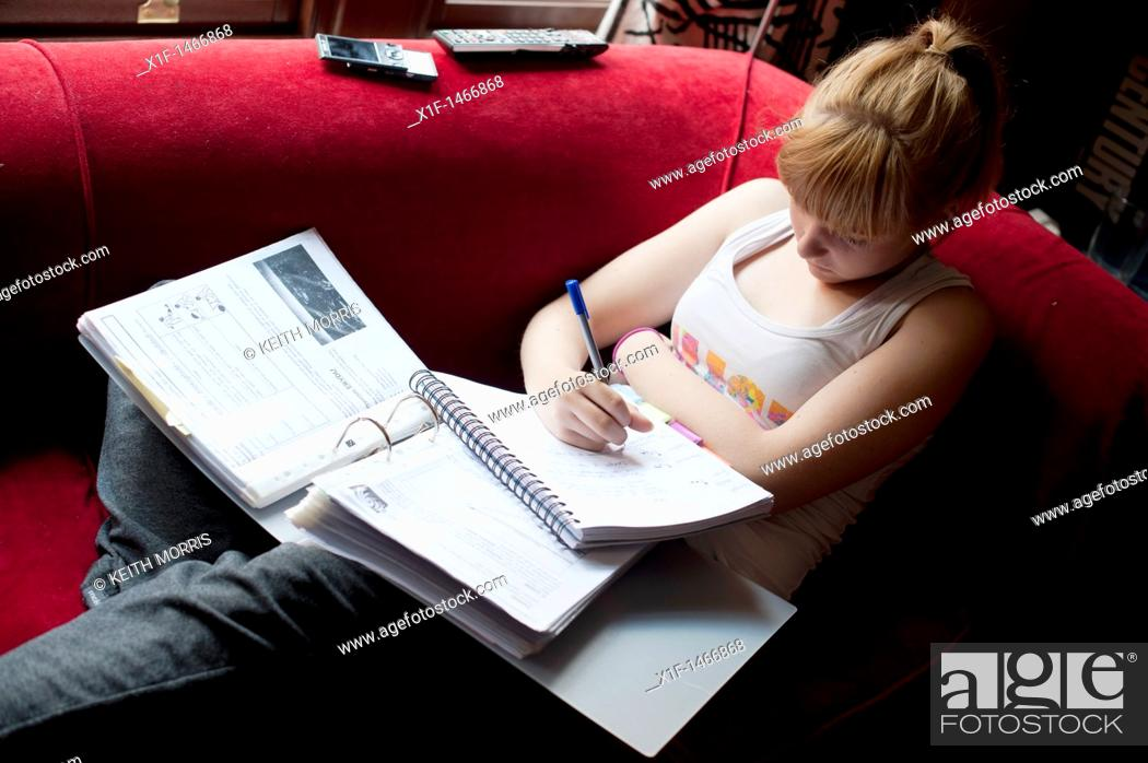 Stock Photo: a 16 year old teenage girl revising for her GCSE examinations, Wales UK.