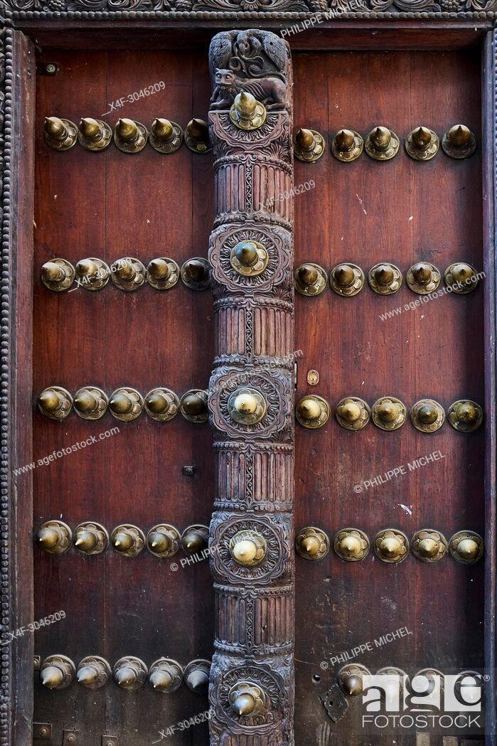 Stock Photo: Tanzania, Zanzibar island, Unguja, Stone Town, unesco world heritage, old door.