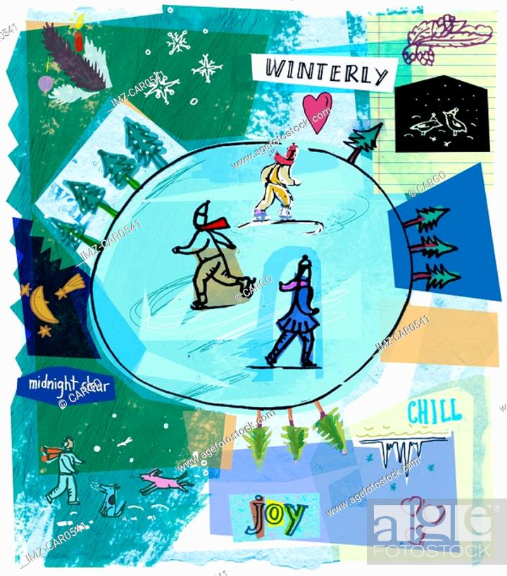 Stock Photo: A collage of ice skaters on a rink and winter scenes.