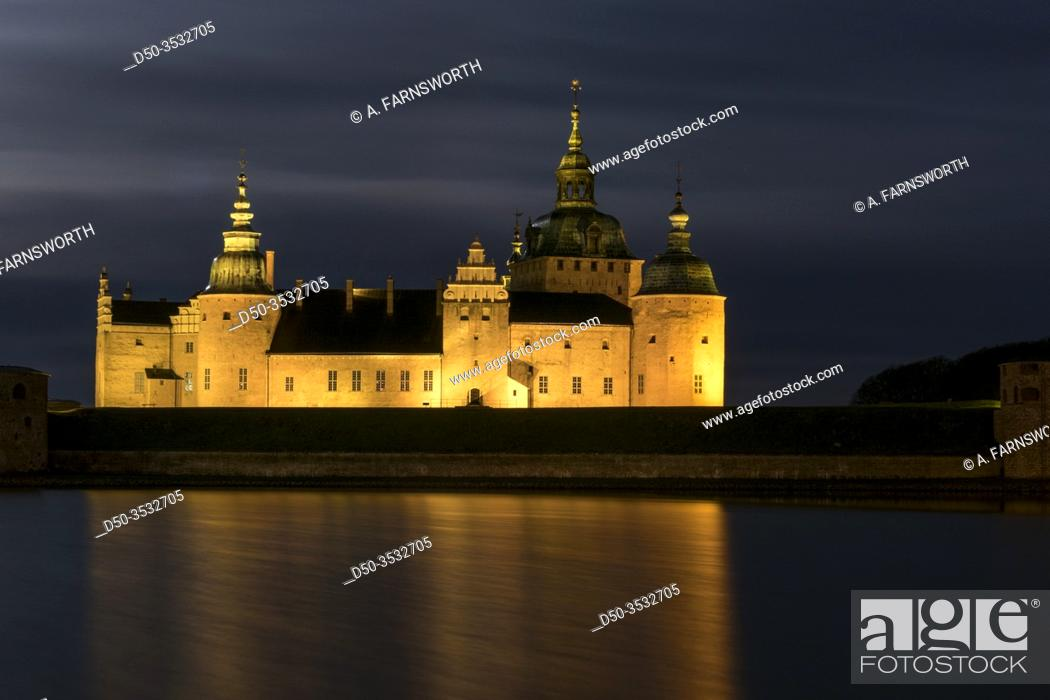 Stock Photo: Kalmar, Sweden The grounds of the Kalmar Castle at night and moonlight.