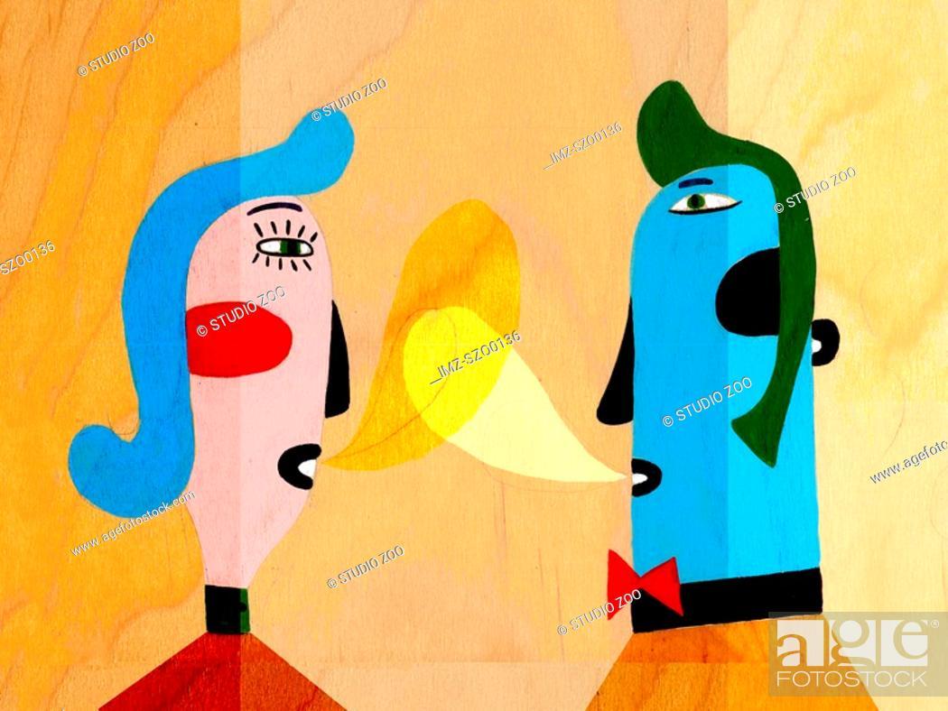 Stock Photo: Man and Woman talking.