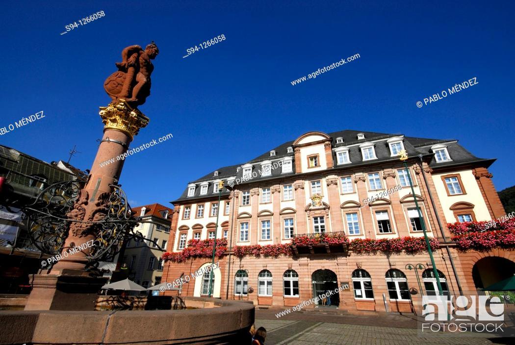 Stock Photo: Markt square in center of Heidelberg, Baden-Württemberg, Germany.