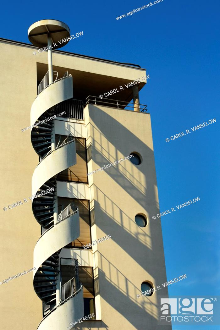 Stock Photo: Office building on the Maas Promenade, near the Wilhemina Bridge with exterior spiral staircase.