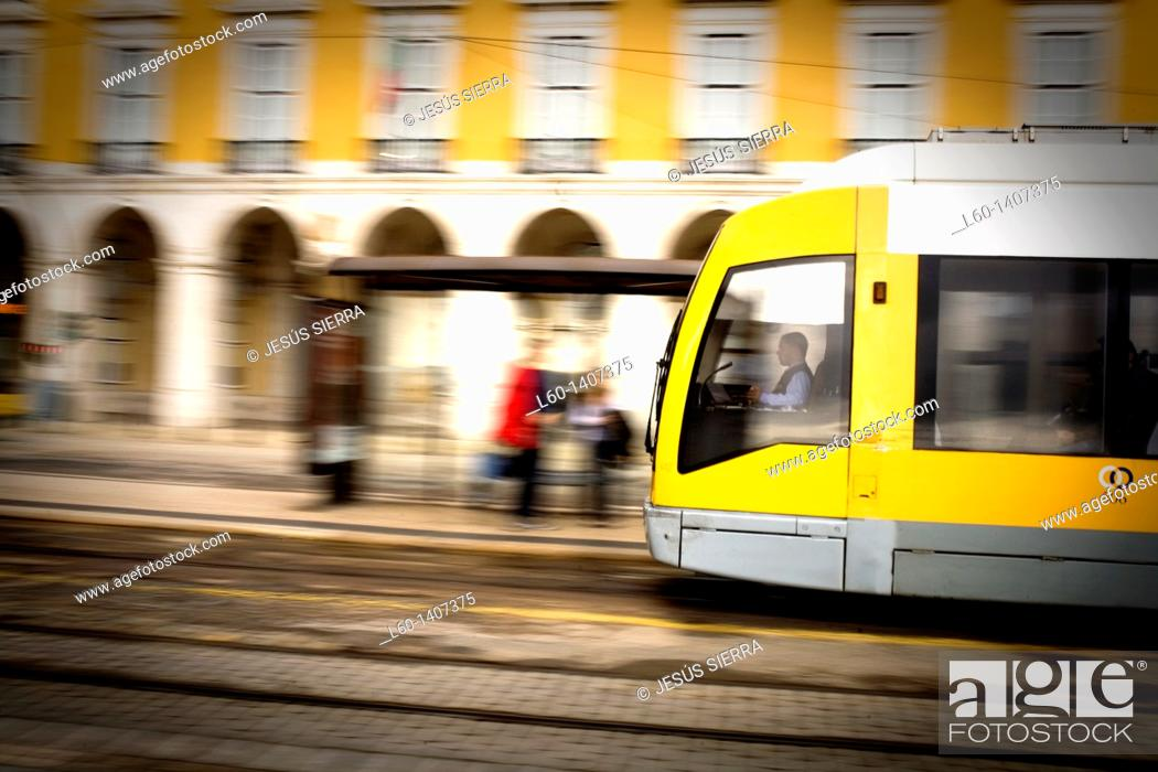 Stock Photo: Tram in Praça do Comercio, Lisboa, Portugal.