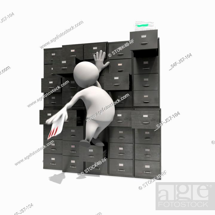 Stock Photo: Anthropomorphic figure reaching for distant drawer at cabinet, CGI.
