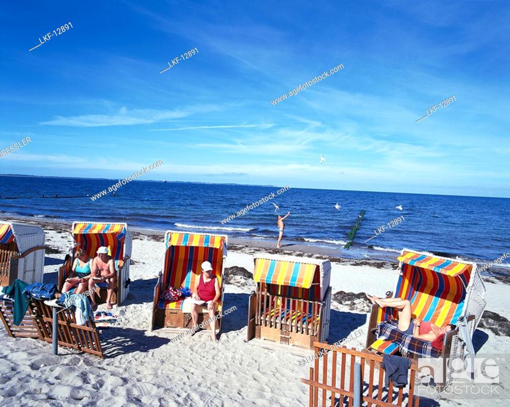 Stock Photo People Lying In Beach Chairs Schaabe Bay Baltic Sea Near Glowe Mecklenburg Western Pomerania Germany