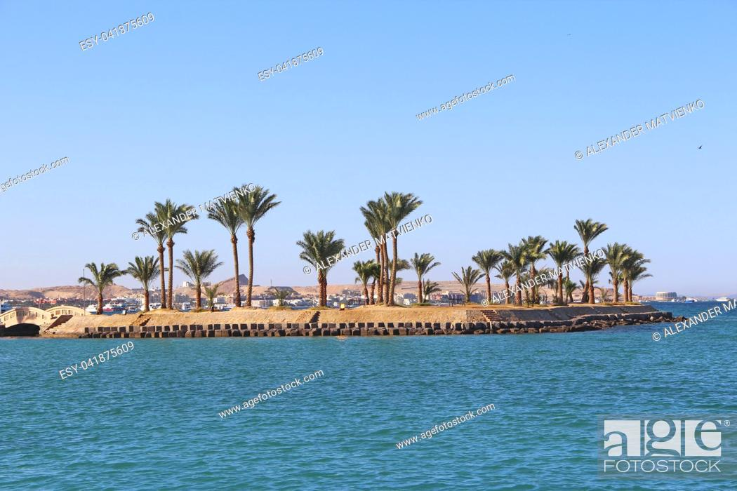 Stock Photo: View of tropical island with palm treesion sea. Paradise island in Red sea. Tropical resort. Vacations concept. Marine panorama with beach palm trees and sea.