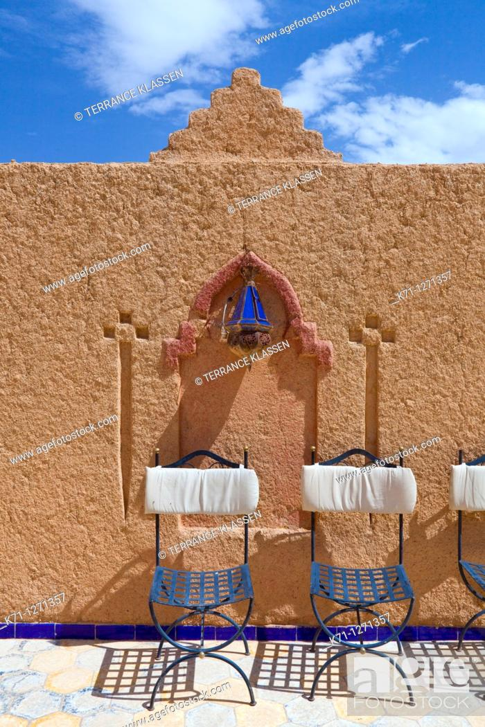 Stock Photo: Wall detail at the Hotel Kasbah Asmaa in Midelt, Morocco.