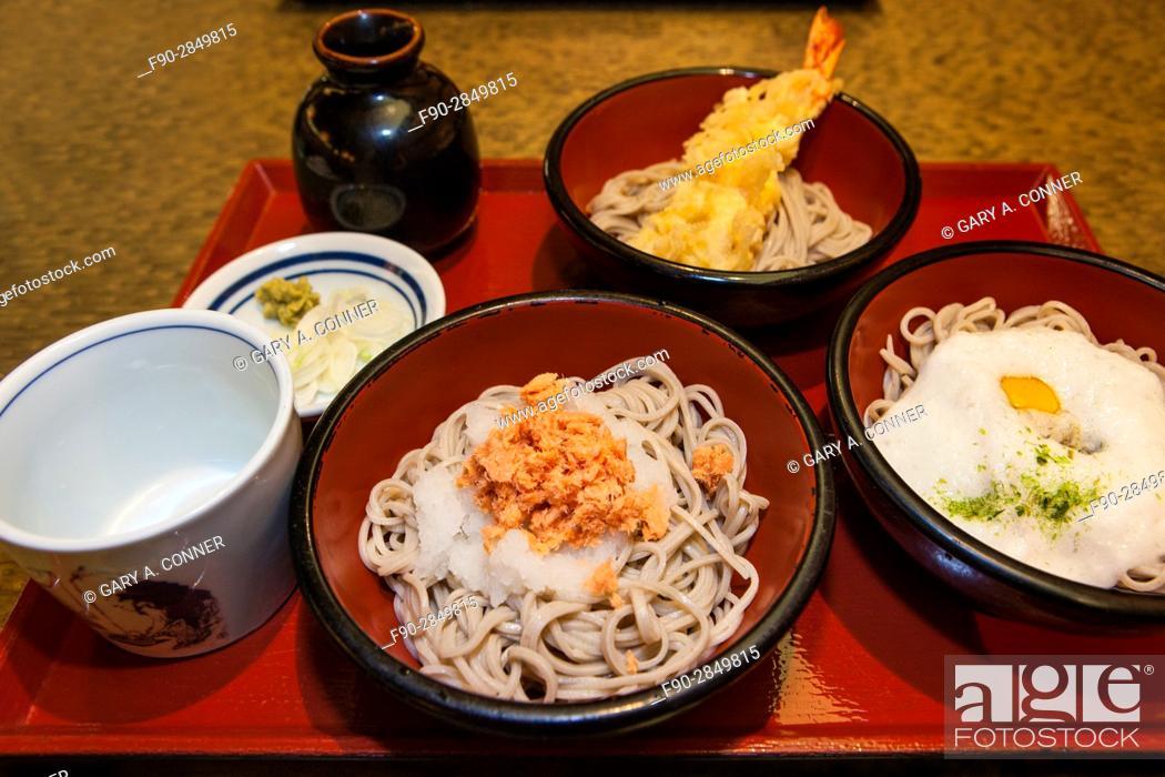 Imagen: Soba noodle sampler meal at a restaurant in Ikegami, Tokyo, Japan.