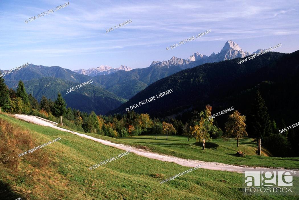 Stock Photo: Italy - Friuli-Venezia Giulia Region - Lius Saddle with Mount Sernio and Creta Grauzaria in the background.
