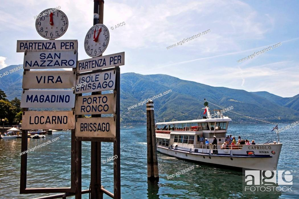Stock Photo: Landing stage, ship Capriolo, Lago Maggiore, Ascona, Locarno, Ticino, Switzerland.