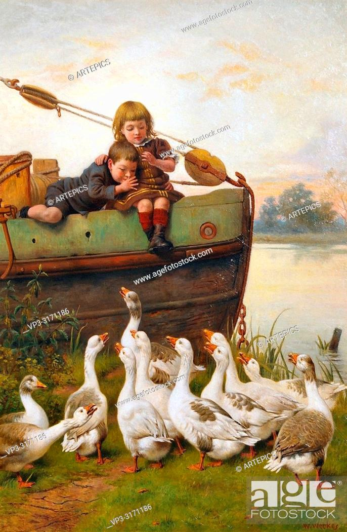 Stock Photo: Weekes Herbert William - Taunting the Geese.