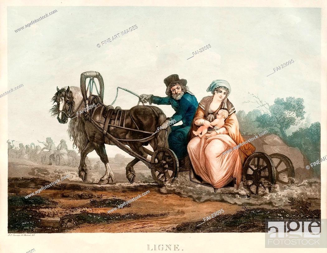 Stock Photo: Sledge driving. Damam-Demartrait, Michel François (1763-1827). Copper engraving, watercolour. Classicism. 1830-1840s. France. Private Collection.