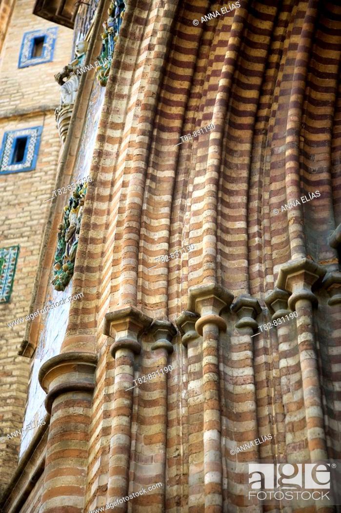 Stock Photo: Architectural detail, main front of the monastery of Santa Paula church, Sevilla. Andalucia, Spain.