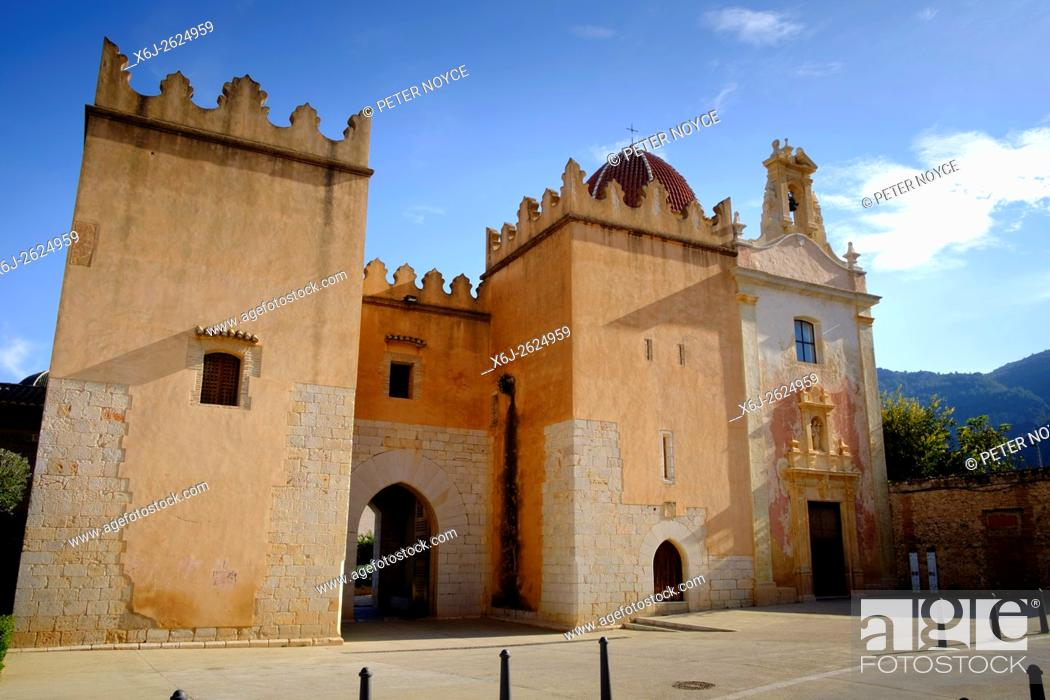 Stock Photo: The Cistercian Monastery of Saint Mary of Valldigna in Simat Spain.