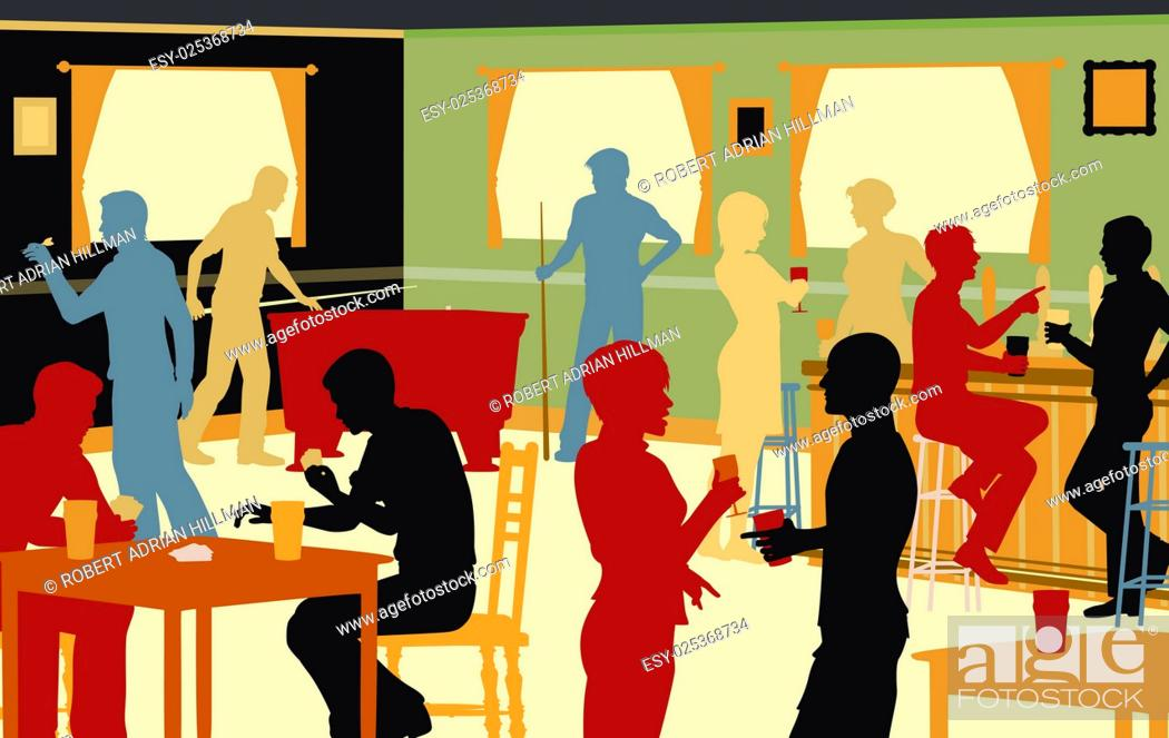 Stock Vector: EPS8 editable vector cutout illustration of people drinking in a busy bar and enjoying typical pub games.