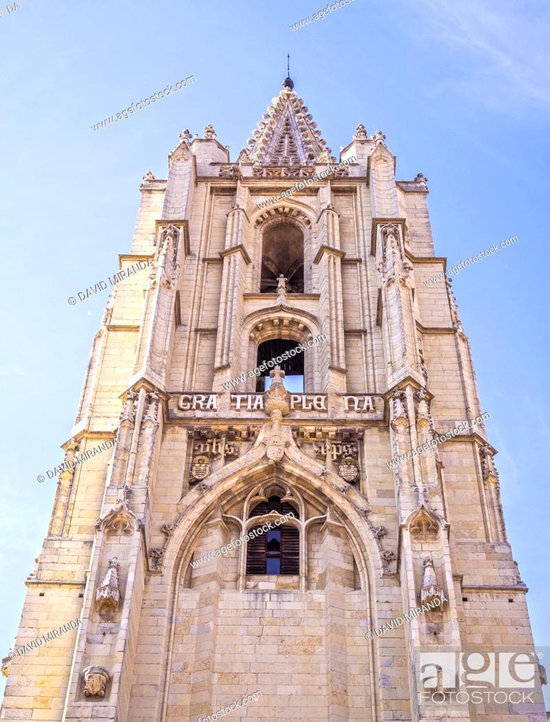 Stock Photo: Torre de la Catedral de León. Castilla León. España.