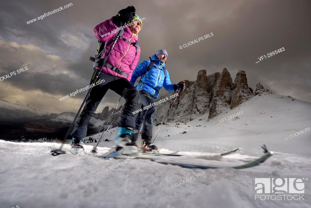 Stock Photo: Dolomites, Fassa Valley, Italy, Europe, Trentino Alto Adige, Alps, Sella Pass.